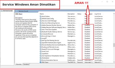 Service Windows Aman dimatikan agar Komputer / Laptop menjadi smooth tanpa lag, drop frame dan lancar saat bermain game maupun editing.
