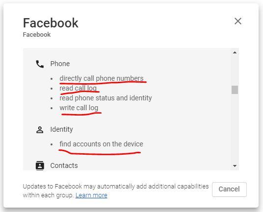 تطبيق الفيسبوك يأخذ تصريح بإجراء مكالمات مباشرة