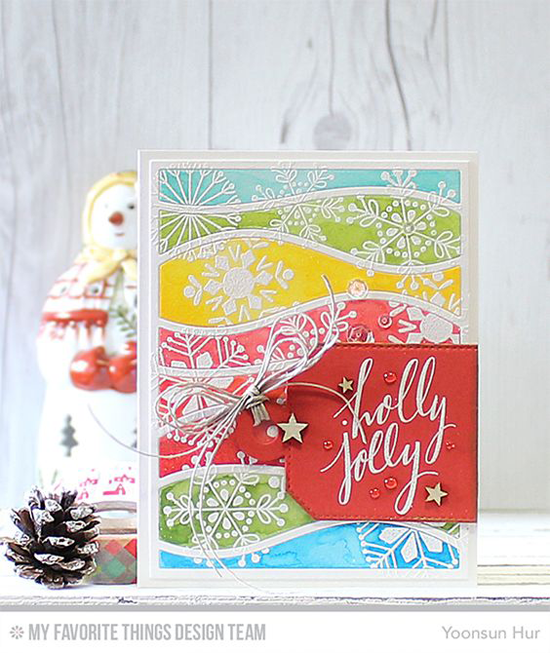 Handmade card from Yoonsun Hur featuring Hand Lettered Holiday and Snowflake Flury stamp sets, Snowdrifts Cover-Up and Tag Builder Blueprints 4 Die-namics #mftstamps