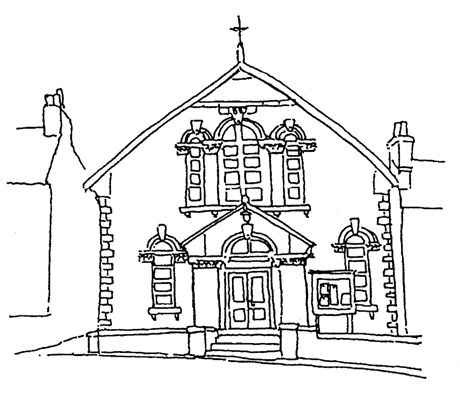 Black And White Church House Drawing Pictures to Pin on