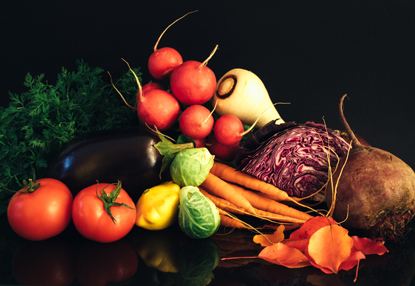 assorted vegetables on black background