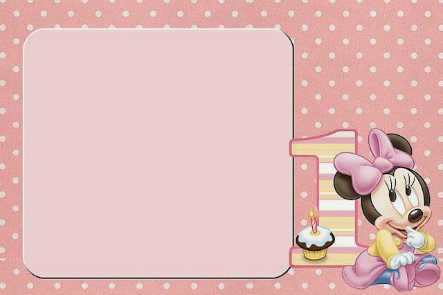 Minnie Primer Año con Lunares: Invitaciones para Imprimir Gratis ...