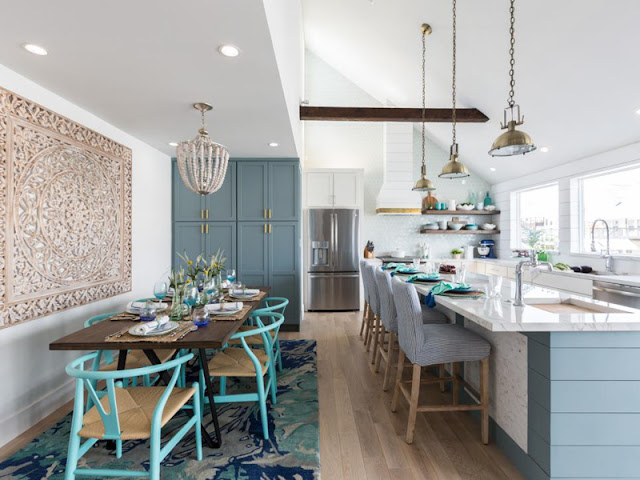 New Interior Design: Well-ordered and Mosaic-accented New Interior Design: Well-ordered and Mosaic-accented turquoise dining kitchen