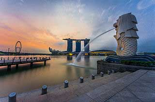 Merlion Statue at Merlion Park,Singapore