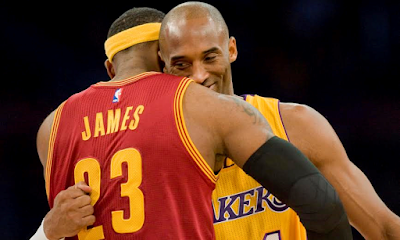 Kobe Bryant and Lebron James send off