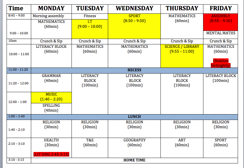 best study time table for high school colored format jpeg 337kb – Class Timetable Template