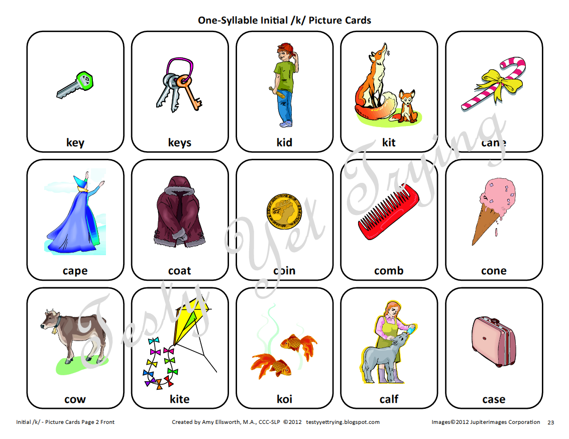 Testy Yet Trying Speech Therapy Kit K Card Sets And
