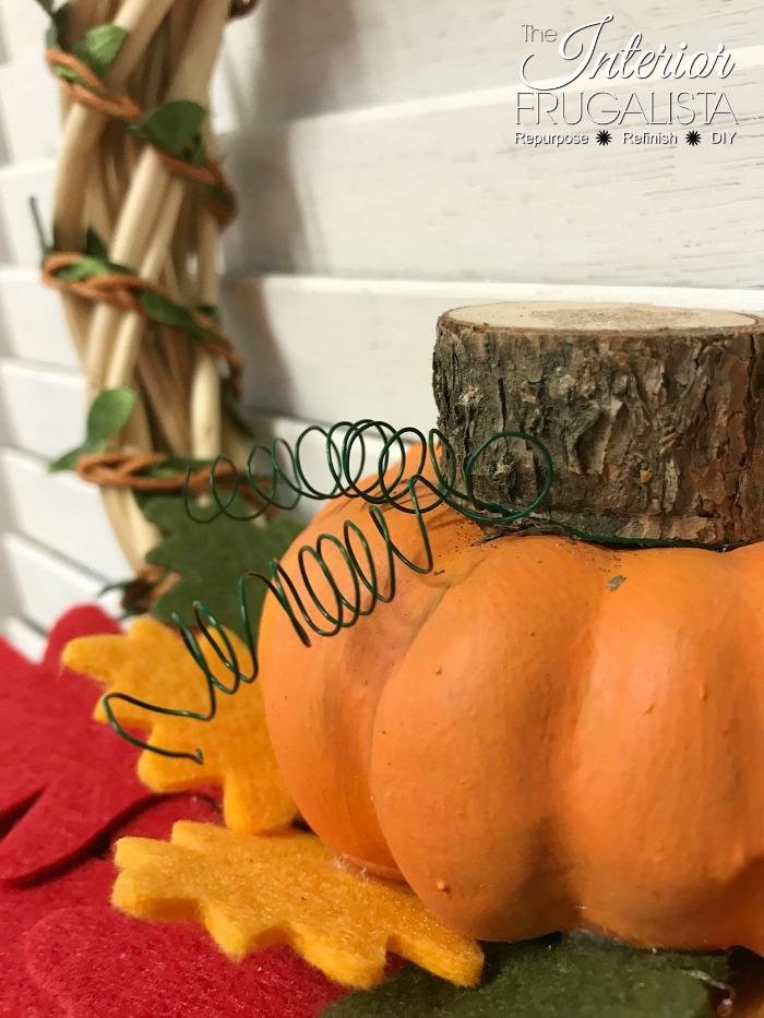 DIY Fall Dollar Store Wreath Mini Pumpkin