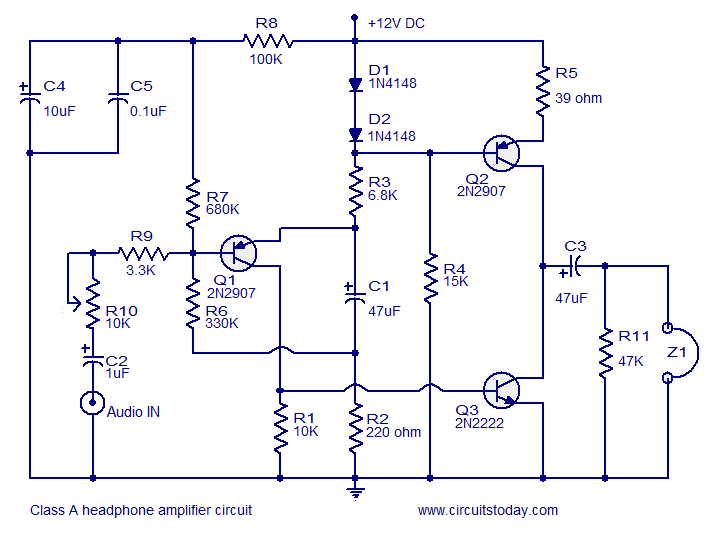 Headphone Amplifier Class A Electronic Circuit Collection