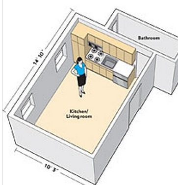 300 Sq FT Studio Apartment