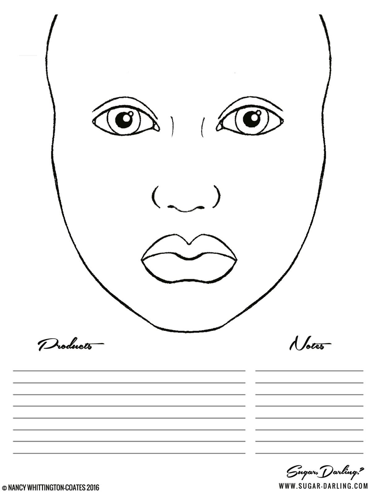Free Practice Makeup Face Chart