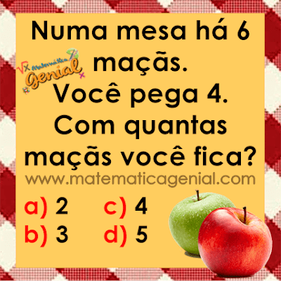 Desafio: Numa mesa há 6 maçãs, você pega 4. Com quantas maçãs você fica?