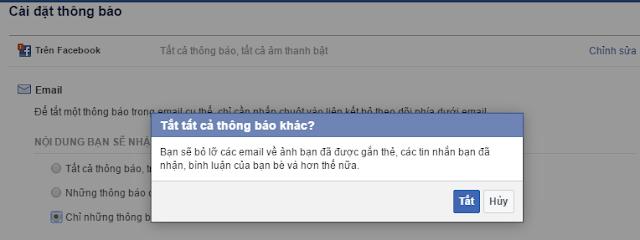 Hủy chức năng thông báo từ facebook về email