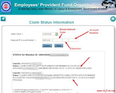 Pf status under process