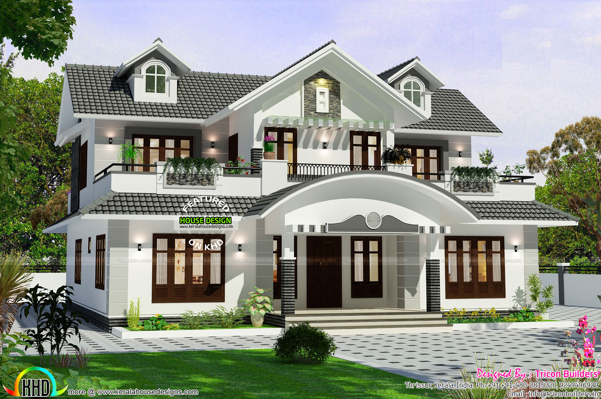 Designer home by tricon builders kerala home design and for Latest house designs 2015