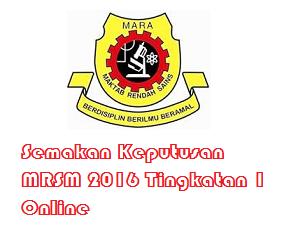 result MRSM 2016 Tingkatan 1 dan 4 sms