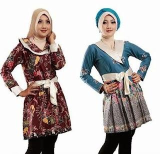 Trend model kemeja batik wanita kombinasi