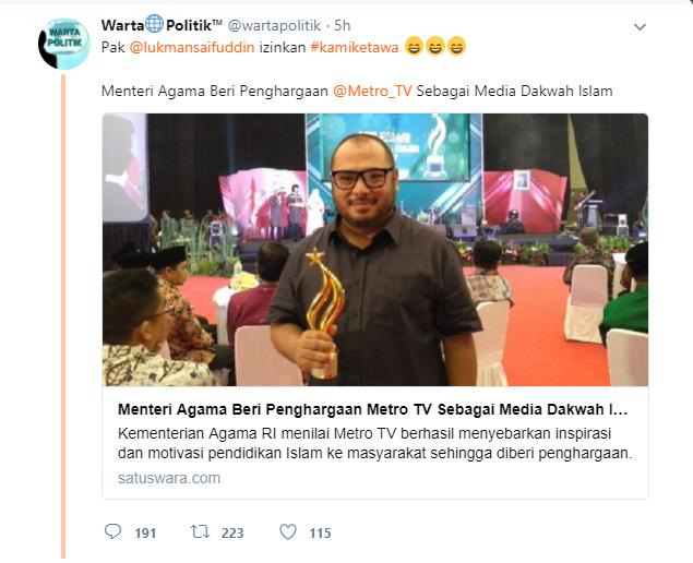 Ups! Dianggap BERJASA Majukan Pendidikan Islam, Kemenag Beri Penghargaan ke Metro TV, CNN, KOMPAS dan Detik