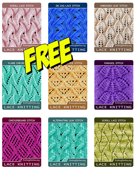 Free lace knitting stitches! Here you will find written knitting patterns and more new lace stitches always added.