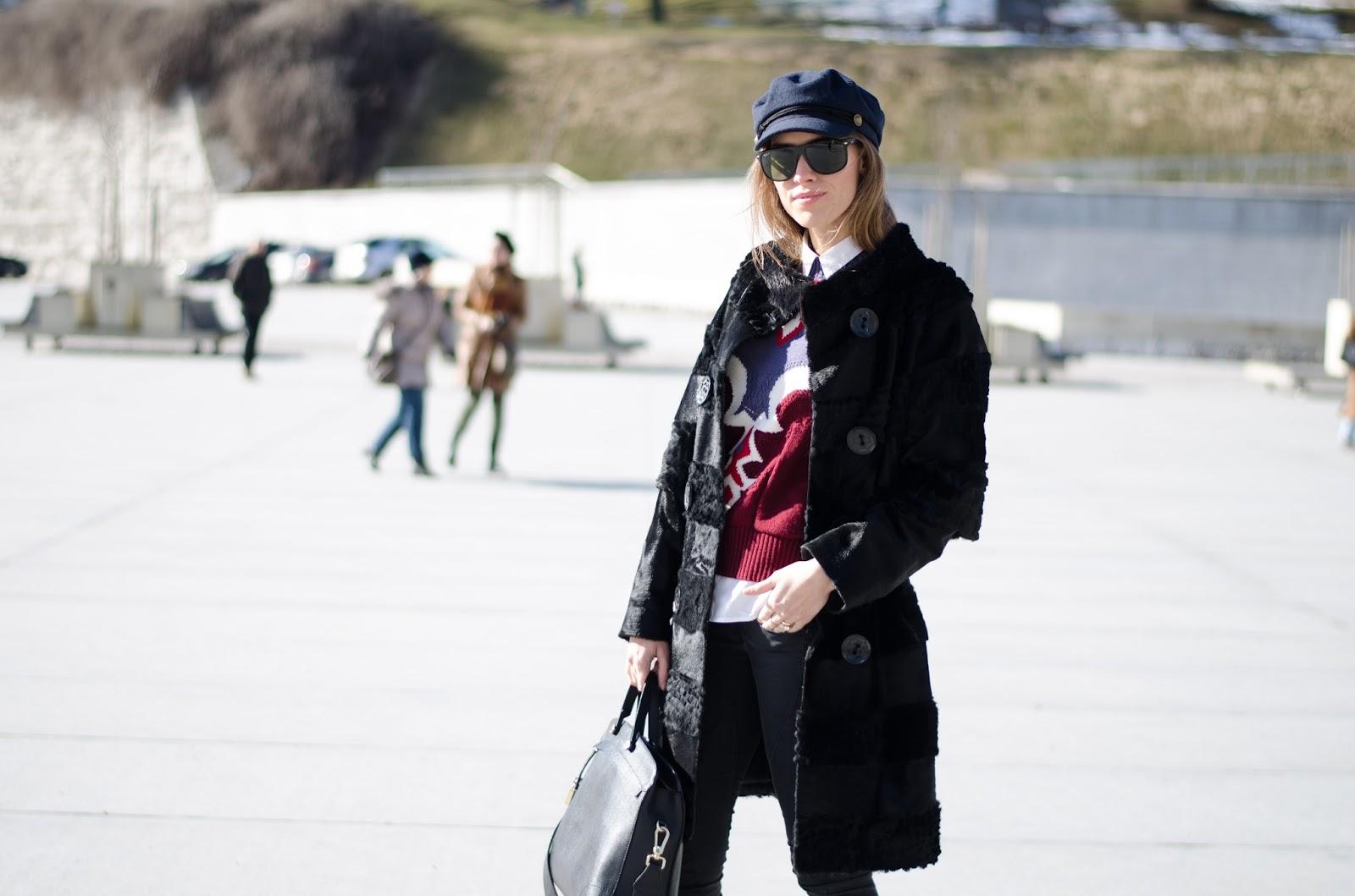kristjaana mere spring casual outfit black fur coat cap