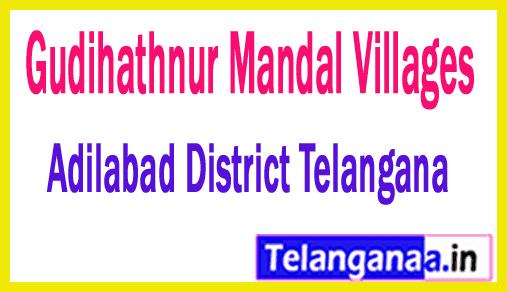 Gudihathnur Mandal and Villages in Adilabad District Telangana