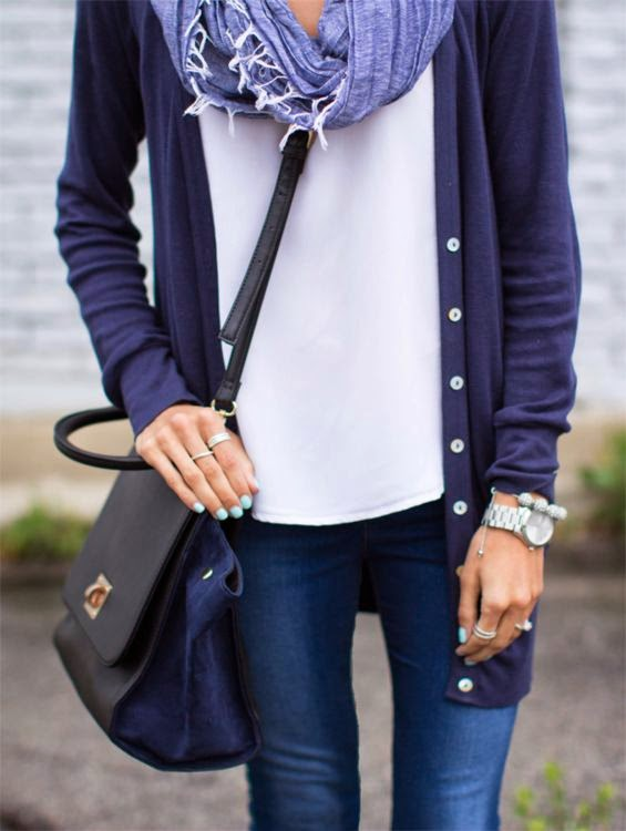 Weekend White Tee , Navy Cardi, Big Back Purse, Jeans, Watch