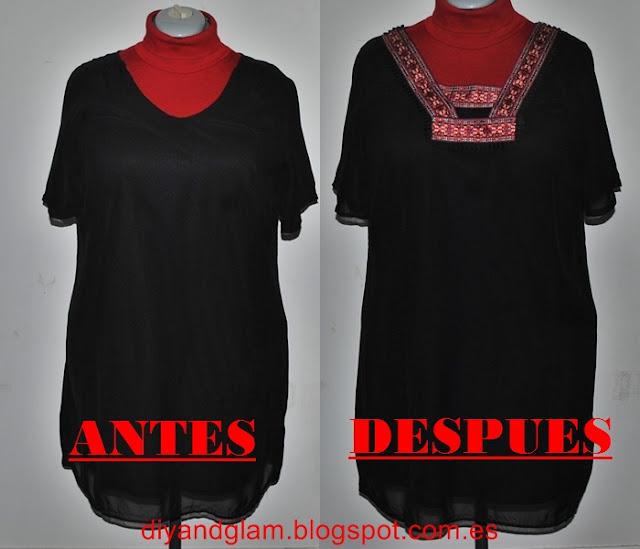 DIY vestido negro étnico