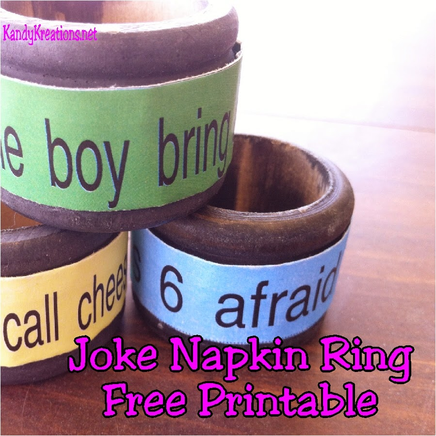 Make memories with your family with these fun Joke Napkin Ring printables.  Your family will be joking around the dinner table using this free printable and some old napkin rings.
