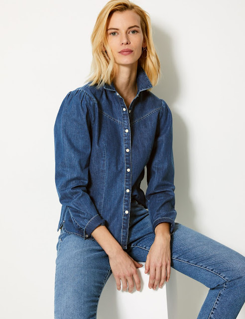 marks and spencer western denim shirt