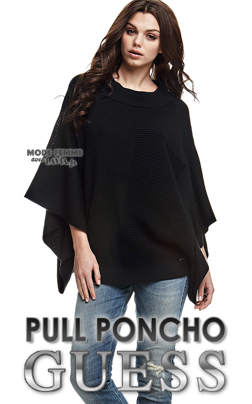 Pull poncho femme noir GUESS