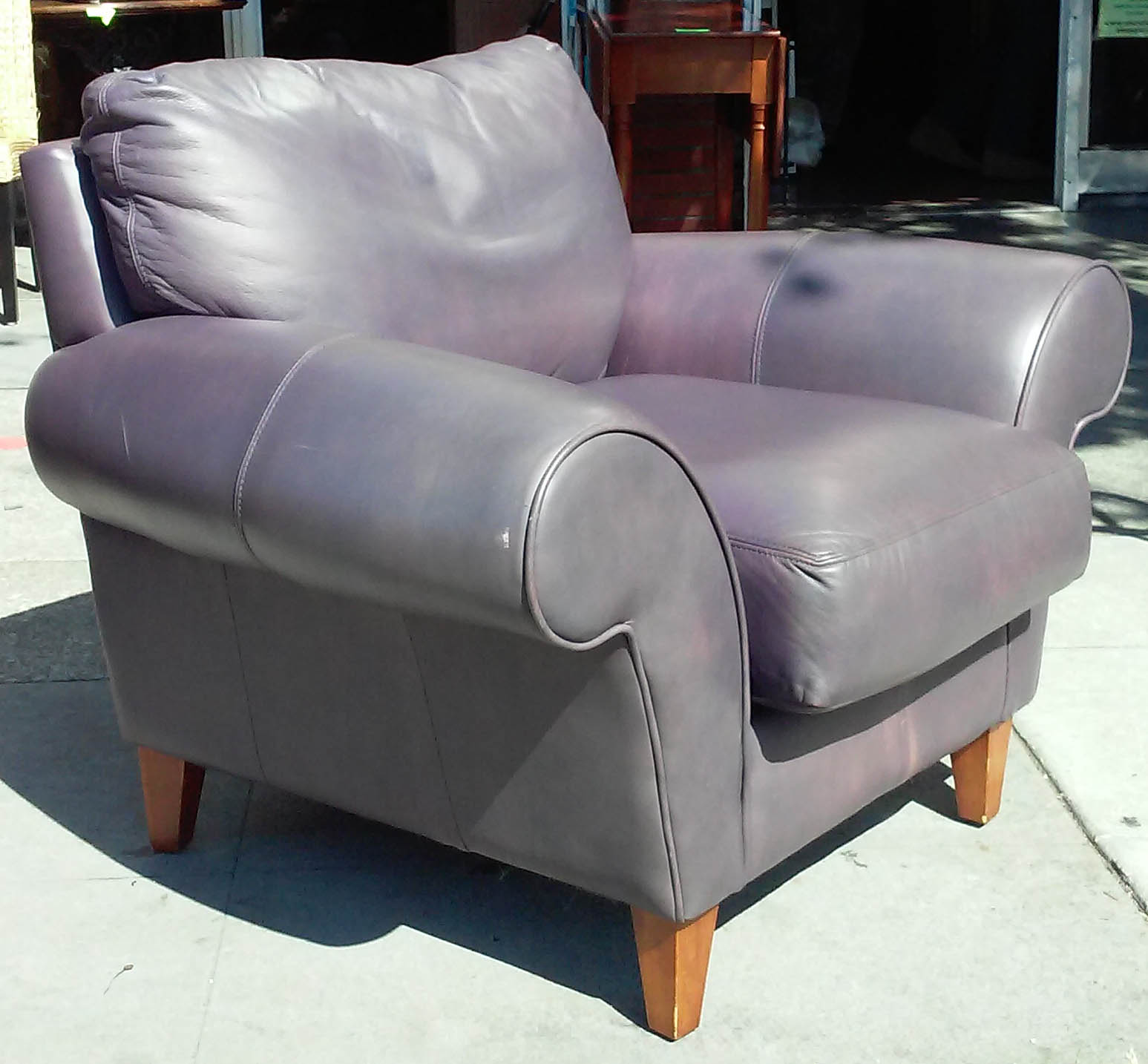 plum leather sofa how to replace cushion seats uhuru furniture and collectibles sold chair 175