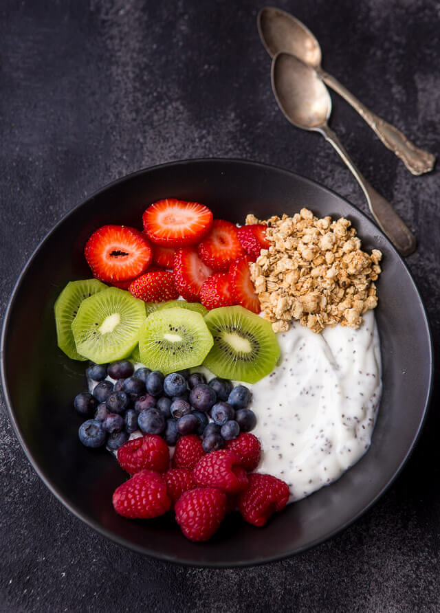 Greek yogurt bowl with chia seeds, granola & fruit