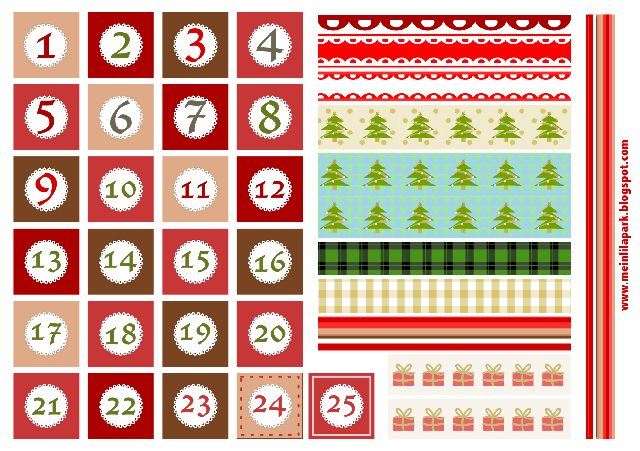 Free printable Christmas advent calendar numbers and borders ...