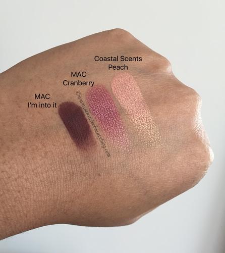 Eyeshadow Combo Swatches (MAC I'm into it, MAC Cranberry, Coastal Scents Peach)