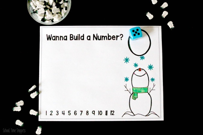 mini eraser snowman math printable