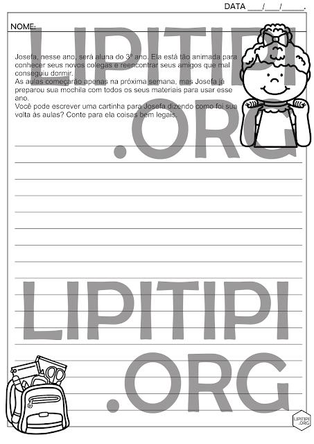 Produção de Texto Gênero Carta Volta às Aulas Atividade