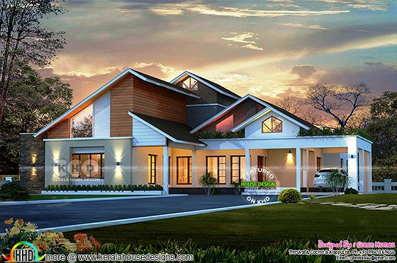 slanting + sloping roof modern home