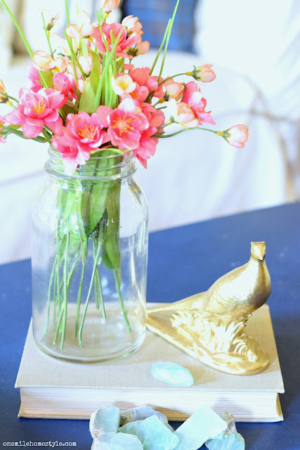 DIY Gold Ceramic Pheasant Figurine Makeover - After - One Mile Home Style