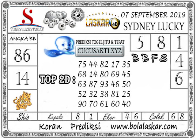 Prediksi Sydney Lucky Today LASKAR4D 07 SEPTEMBER 2019