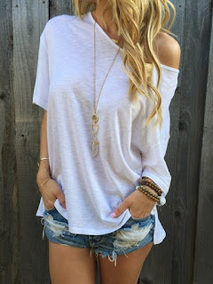 Plain Batwing One Shoulder Short Sleeve T-Shirts