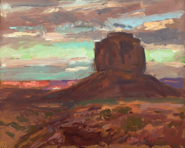 "by Curt Walters, ""August Evening and Merrick Butte"" - oil on canvas board 
