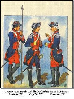 Blandengues (1796). Soldado, teniente y capitán