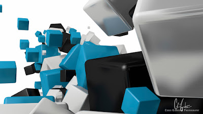 stream of cubes made with blender 3d software