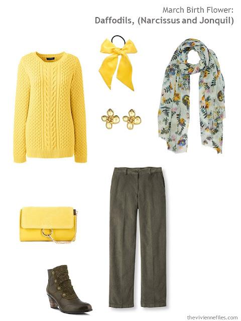 wearing daffodil yellow with moss green