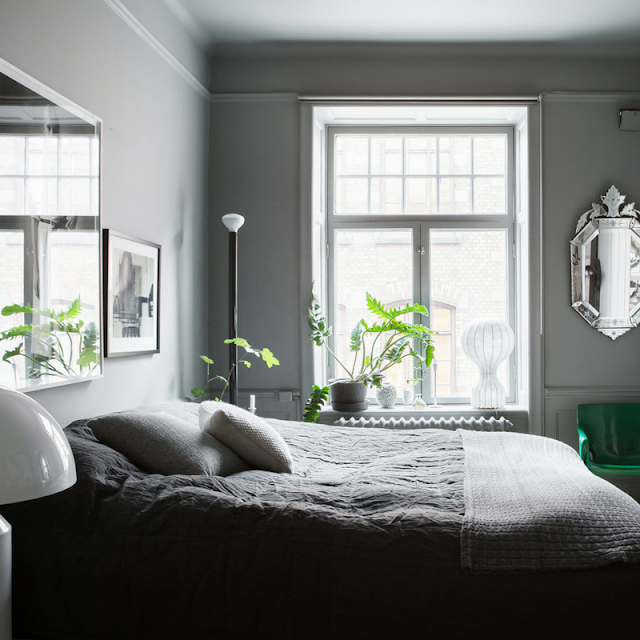 grey bedroom decoration • the round button blog