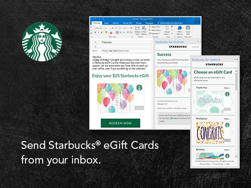 Starbucks desarrolló su complemento para Outlook