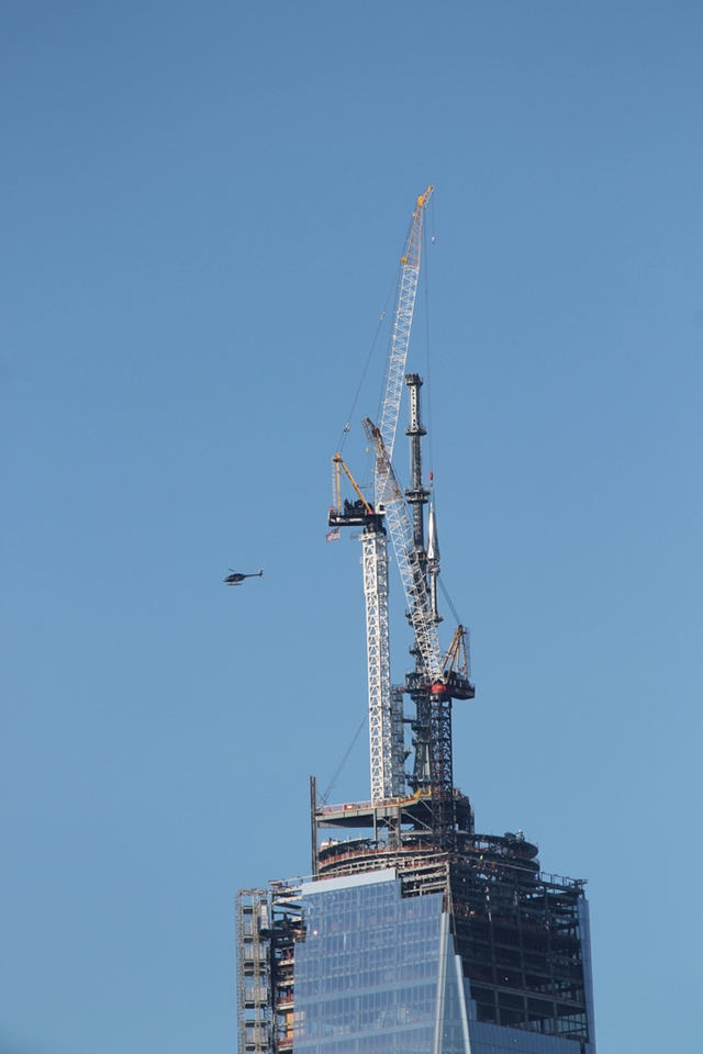Last two pieces being lifted by crane