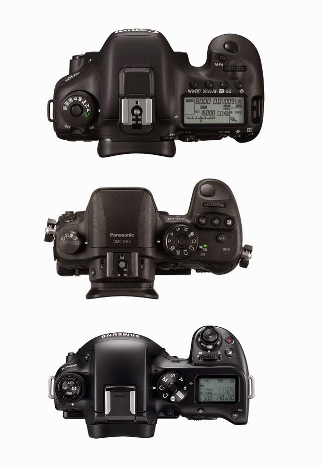 Fotografia dall'alto della Canon EOS 7D Mk II, Panasonic GH4 e Samsung NX1