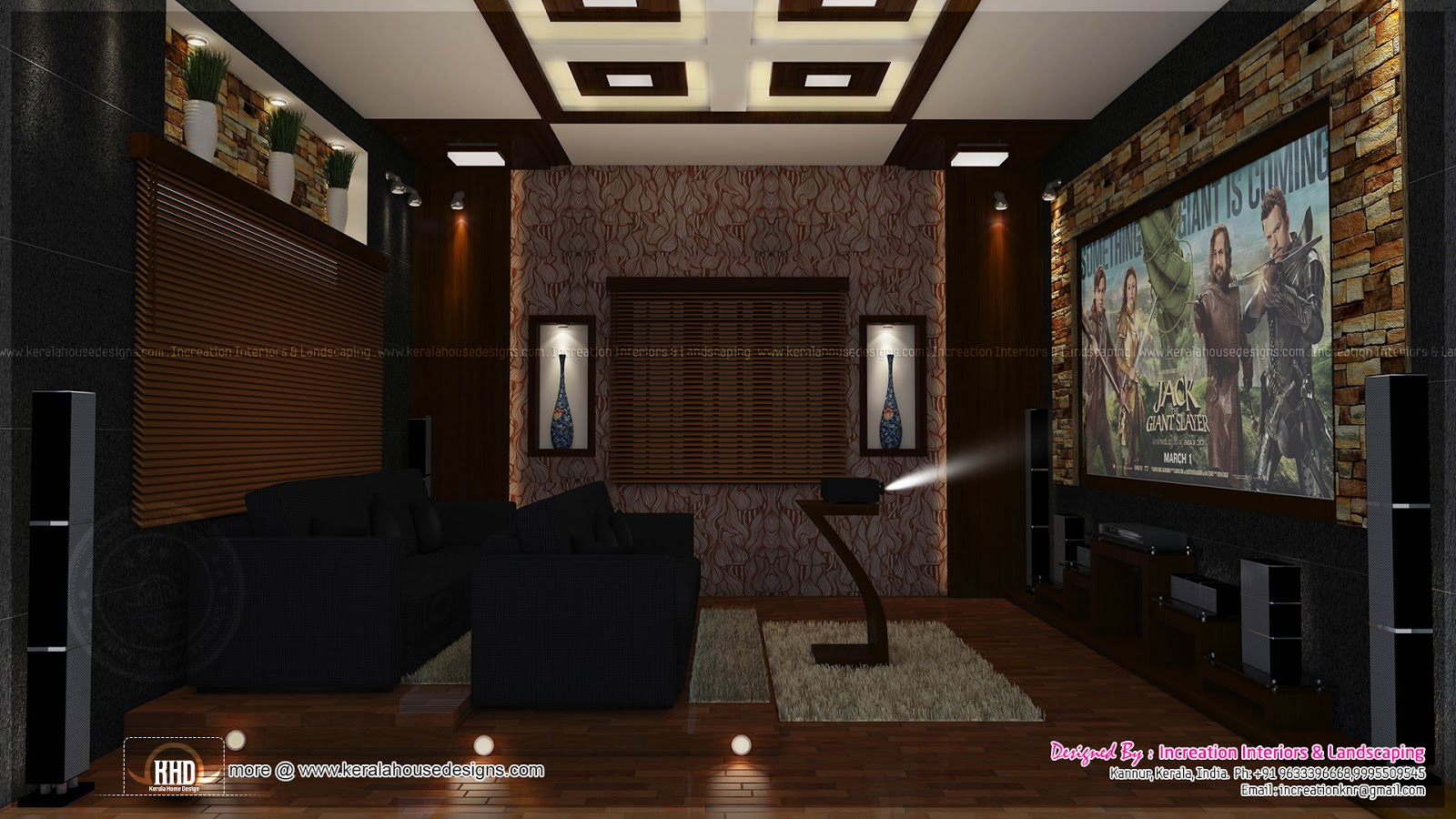 House interior ideas in 3d rendering home kerala plans - Interior design for home theatre ...