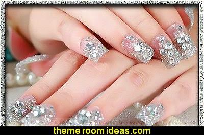 Clear Crystal Nail Art fake nails